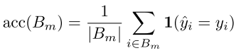 Formula for the reliability diagram for each bin
